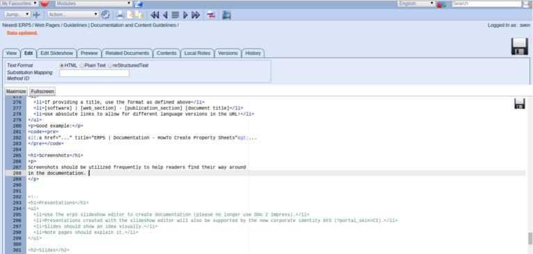 ERP5 Guidelines | Documentation and Content Guidelines - Screenshot Good Usage