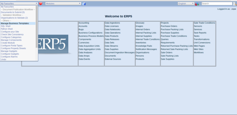 Wendelin ERP5 - Manage Business Templates