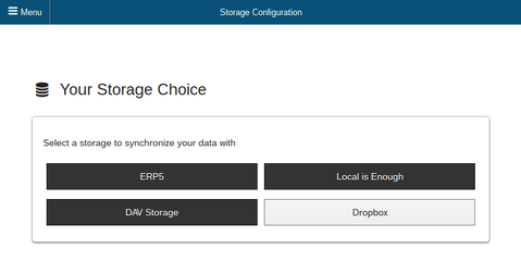 Storage Configuration Screenshot