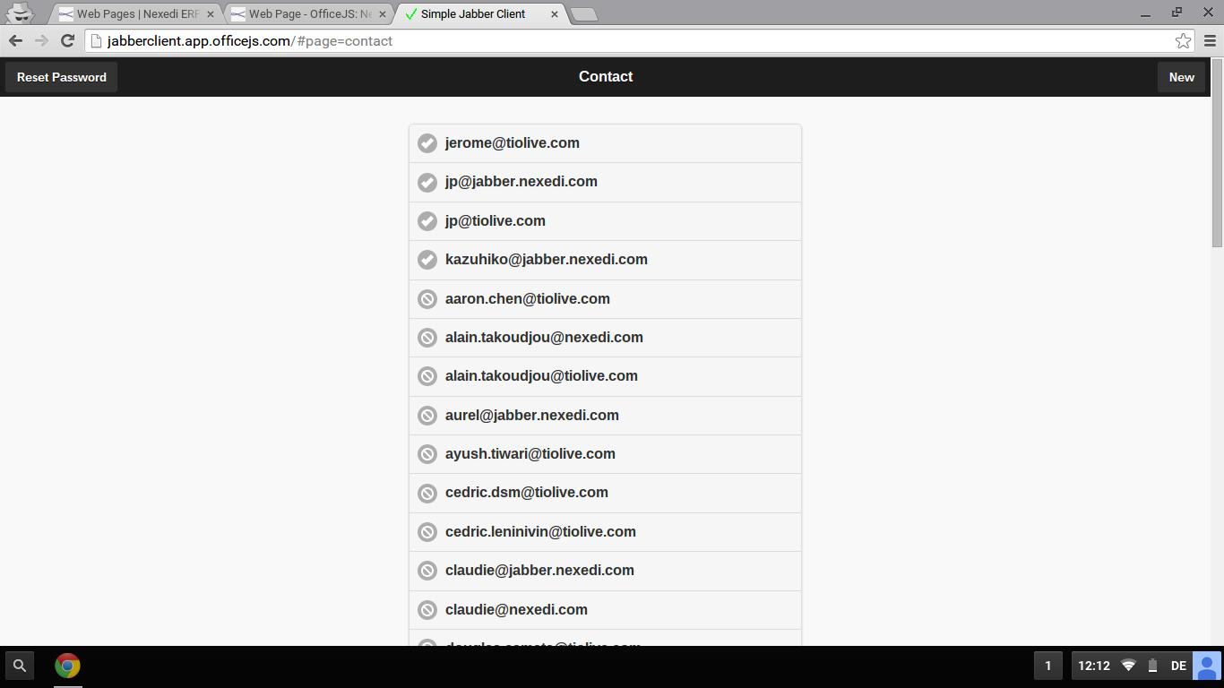Screenshot: Jabber Client Contact List