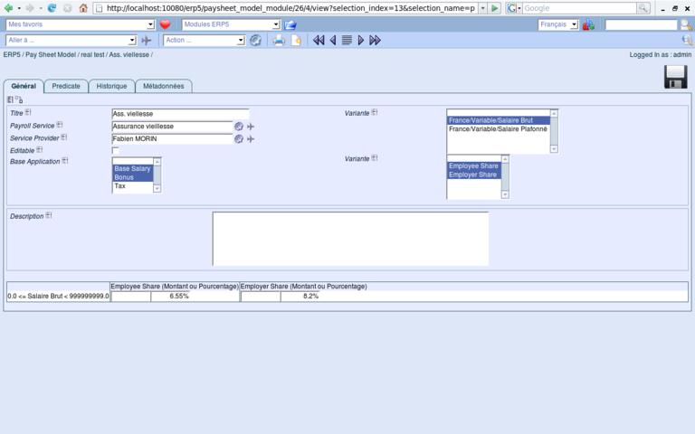 ERP5 Screenshot Paysheet Model Line