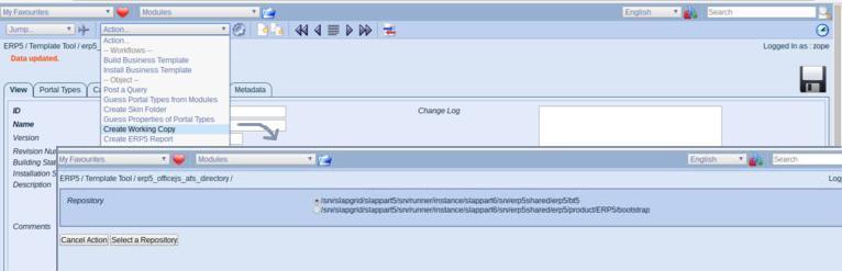 ERP5 Open Source ERP | Screenshot ERP5 Business Template - Creating Working Copy