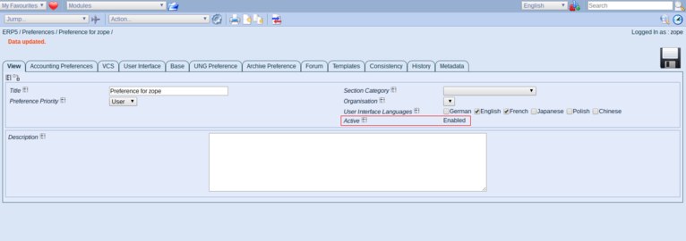 ERP5 | Open Source ERP - Screenshot Preferences Active Preference
