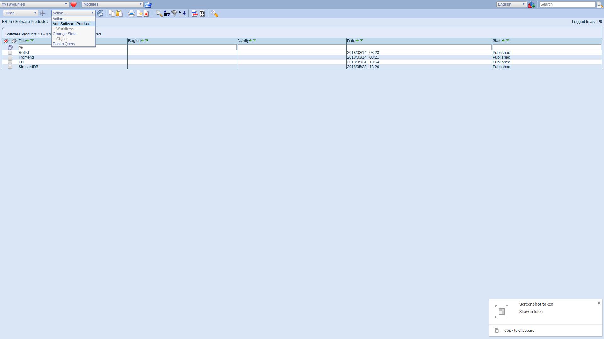 ERP5 Interface - Administrator Add Software Product Webrunner