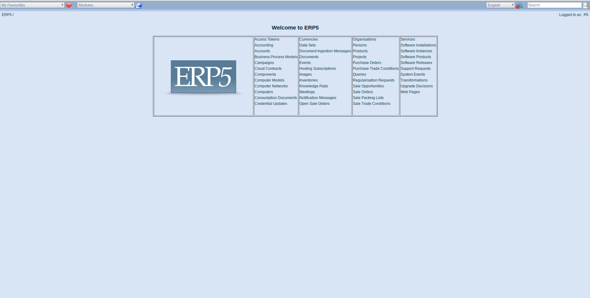 ERP5 Interface - Administrator Homescreen