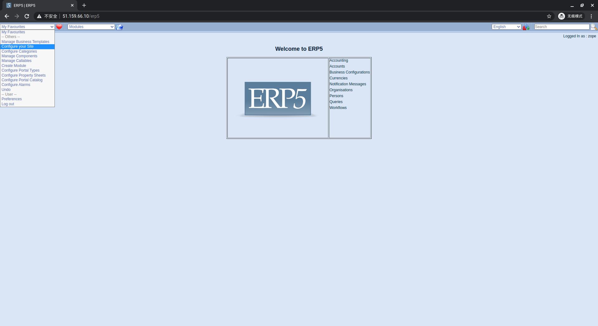 ERP5 Interface - Configure Site