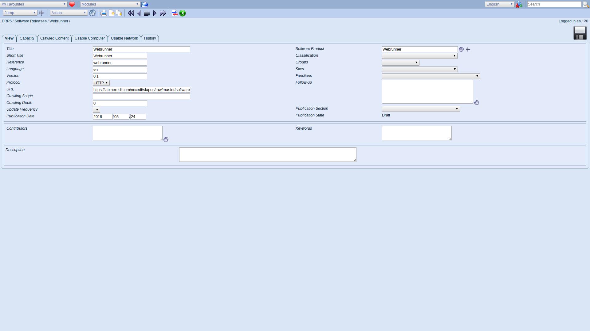 ERP5 Interface - Administrator Define Software Release Webrunner