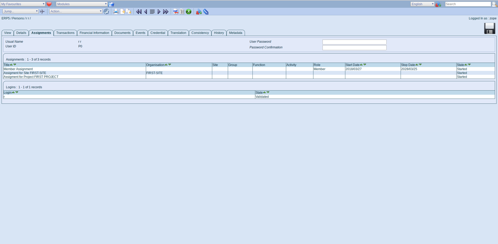 ERP5 Interface - Assignments Tab