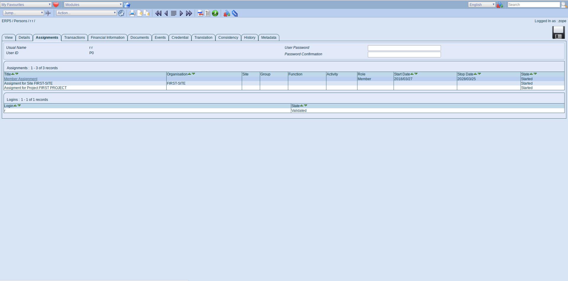 ERP5 Interface - Member Assignment