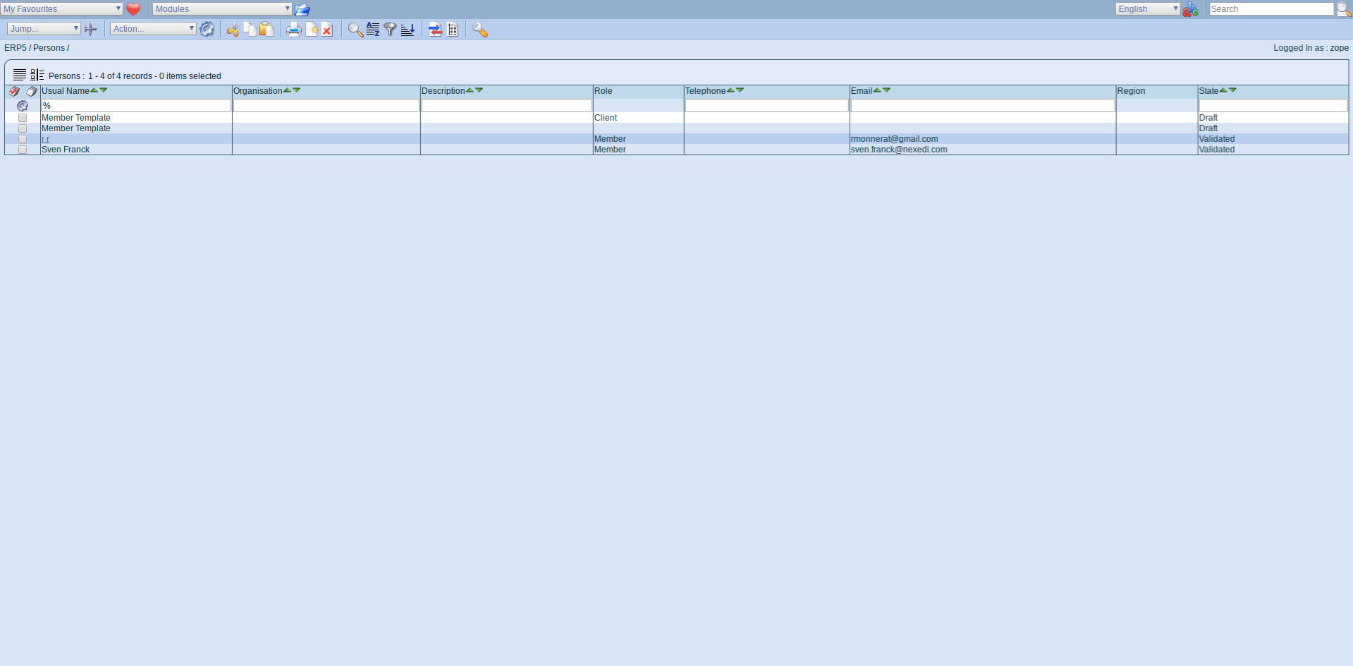 ERP5 Interface - Person Module