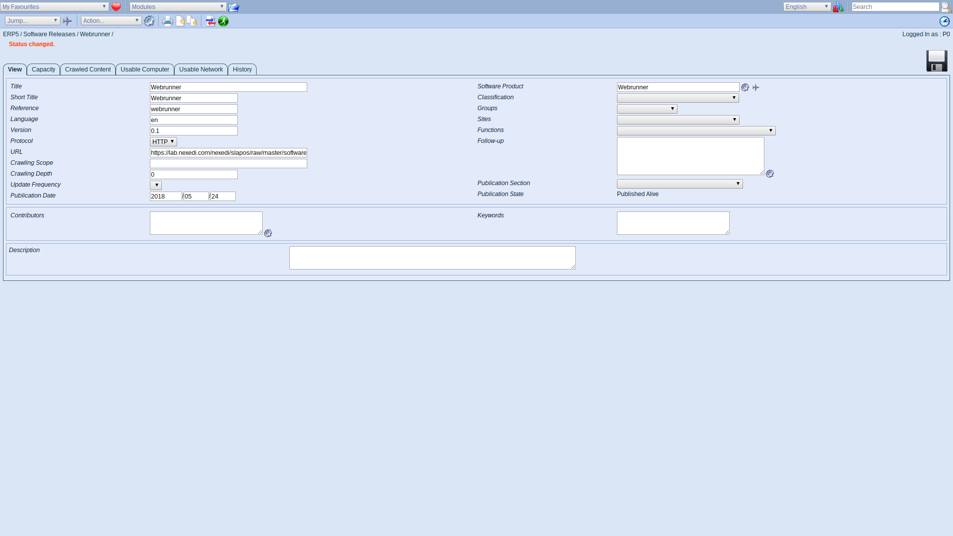 ERP5 Interface - Administrator Publish Software Release Alive Webrunner