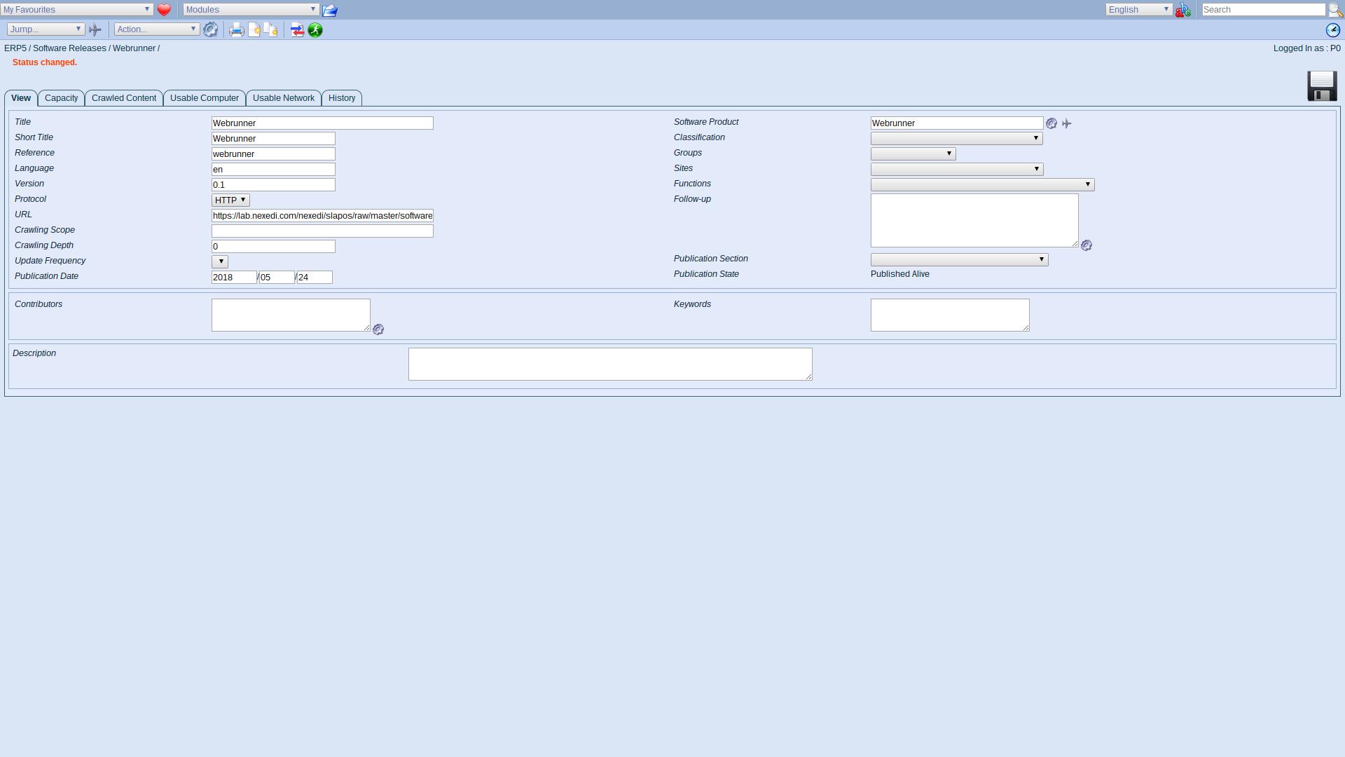 ERP5 Interface - Administrator Published Software Release Webrunner
