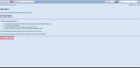 ERP5 | Open Source ERP - Screenshot ERP5 Site Error