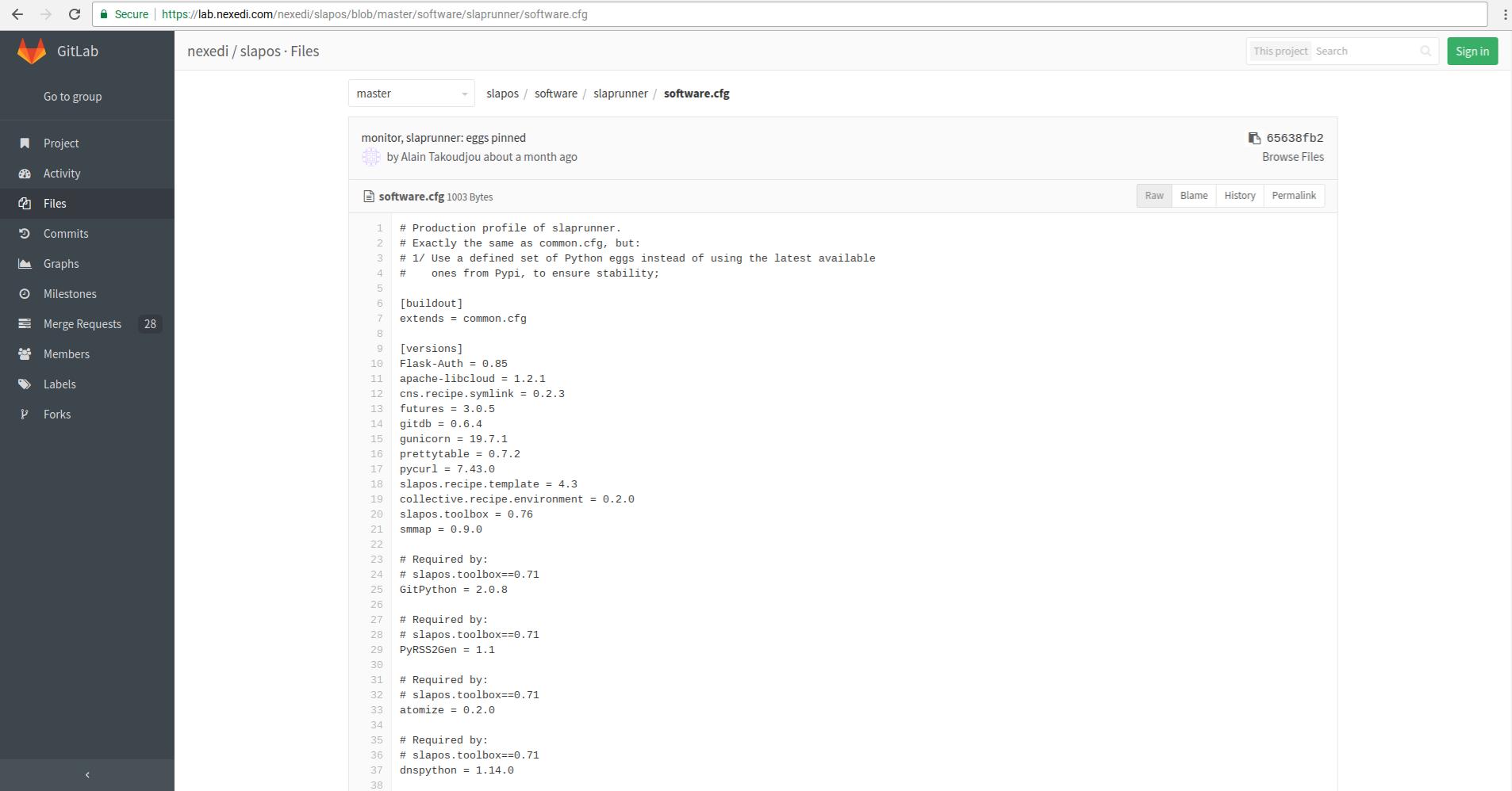 Gitlab - Webrunner Software Release Software.cfg profile