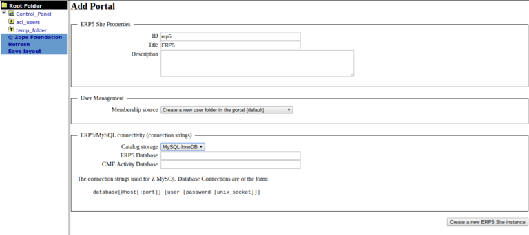 Requesting a Webrunner with ERP5 - Configuring ERP5 Site