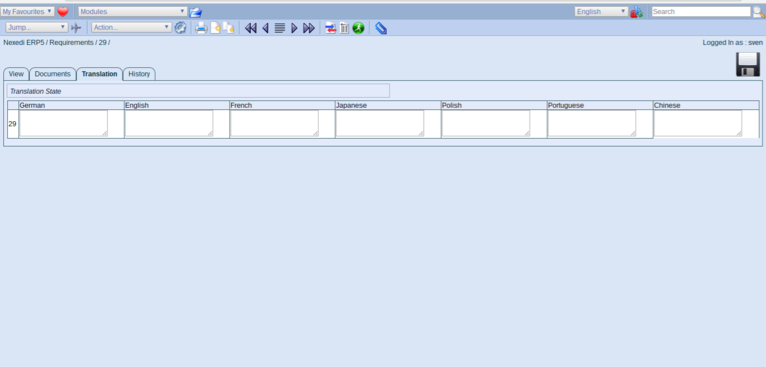 ERP5 Documentation | Screenshot Translation Tab