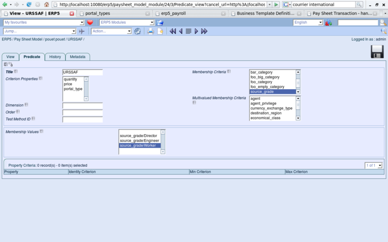 ERP5 Screenshot Paysheet Predicate View