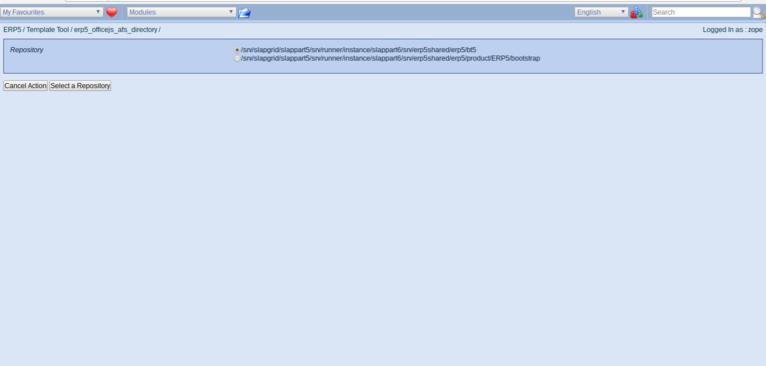 ERP5 Open Source ERP | Screenshot ERP5 Business Template - Selecting Working Copy