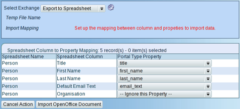 Import Persons/Organisations mapping Dialog Box Screenshot