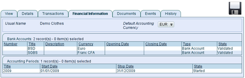 Financial Information of the organisation, TioLive screenshot