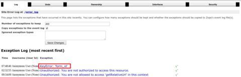 ERP5   Open Source ERP - Screenshot ERP5 Exception Log