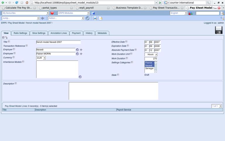 ERP5 Screenshot Paysheet Model View