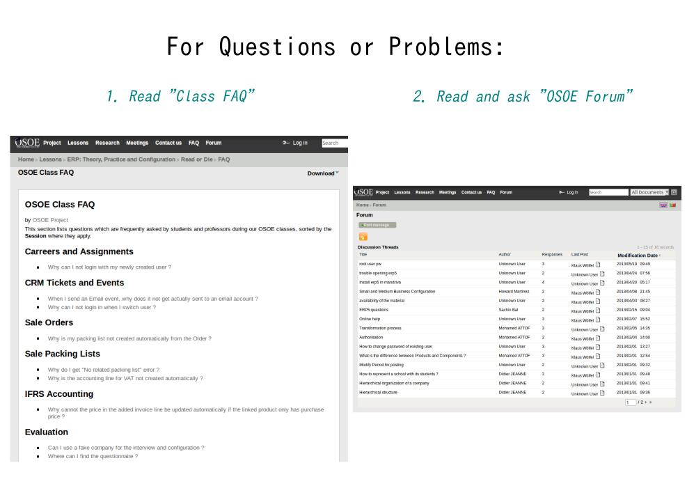 FAQ and OSOE Forum