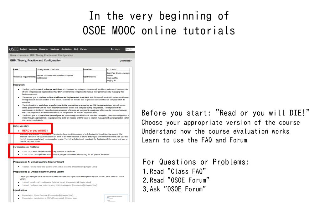 How to make  OSOE MOOC come true?