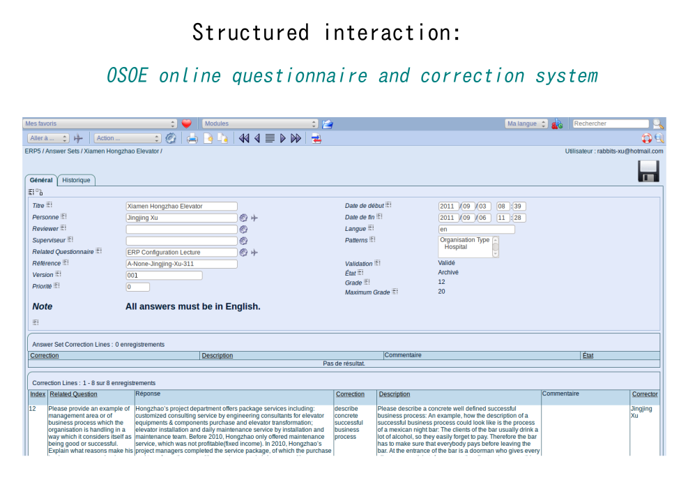 Structured interaction: OSOE online questionnaire and correction system