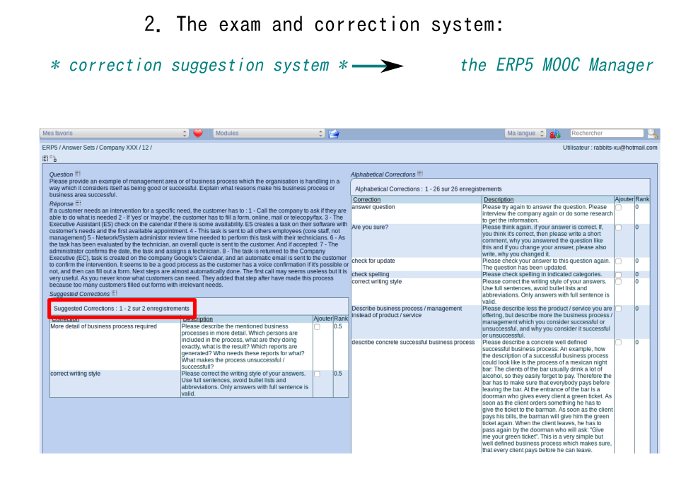 Correction Suggestion System: ERP5 MOOC Manager
