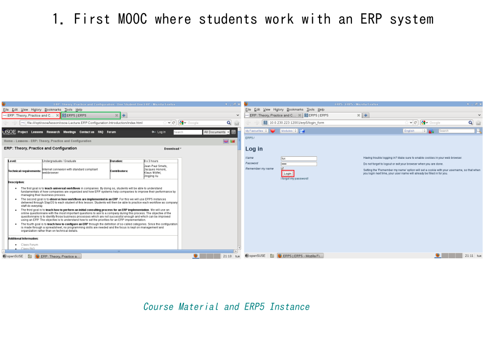What is new in OSOE MOOC-Course material and ERP5 instance