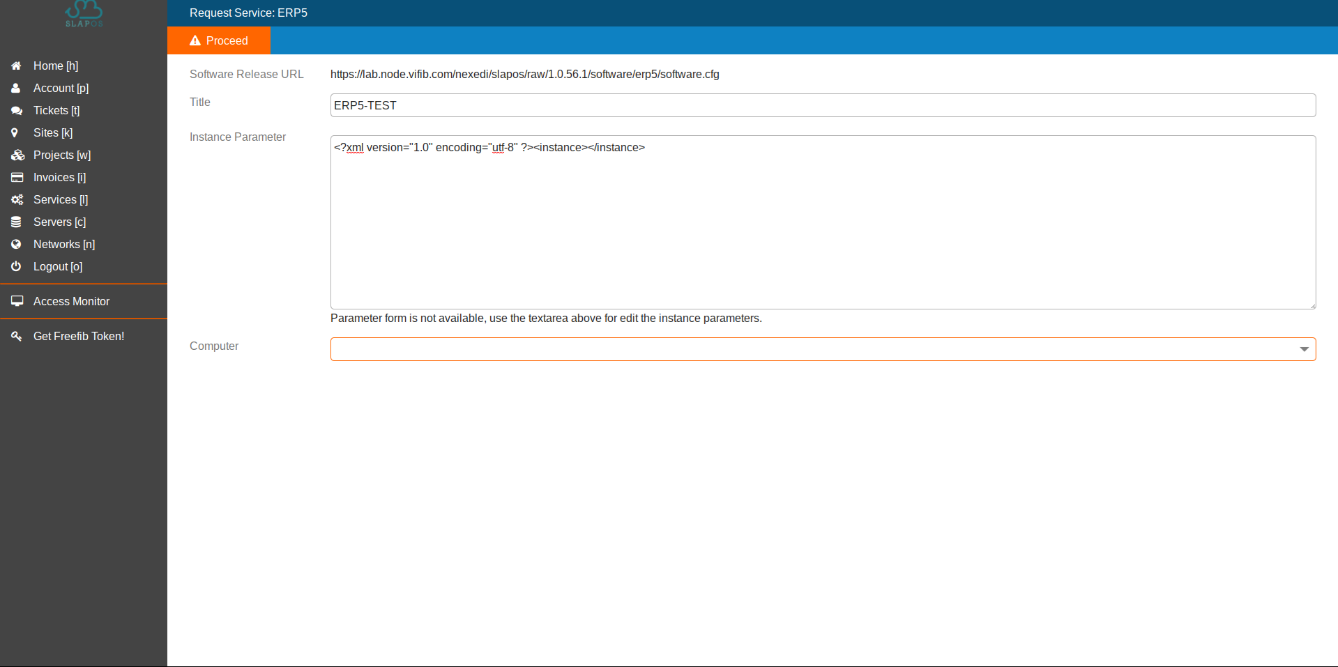 SlapOS Interface - ERP5 Configuration Parameters