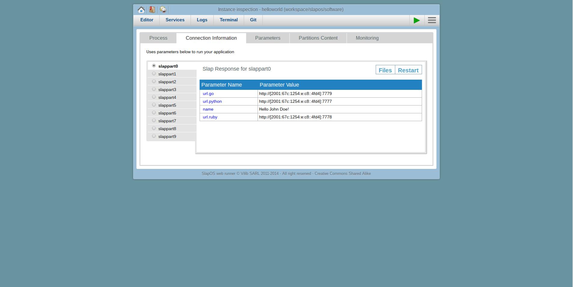 Webrunner Interface - Extending Software Release - Verify Connection Information
