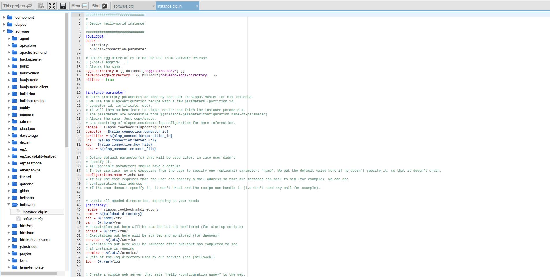 Extending Software Release - Webrunner Interface - Helloworld Instance Config Template