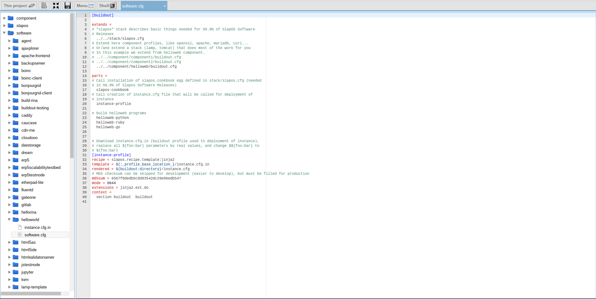 Extending Software Release - Webrunner Interface - Helloworld Software Config