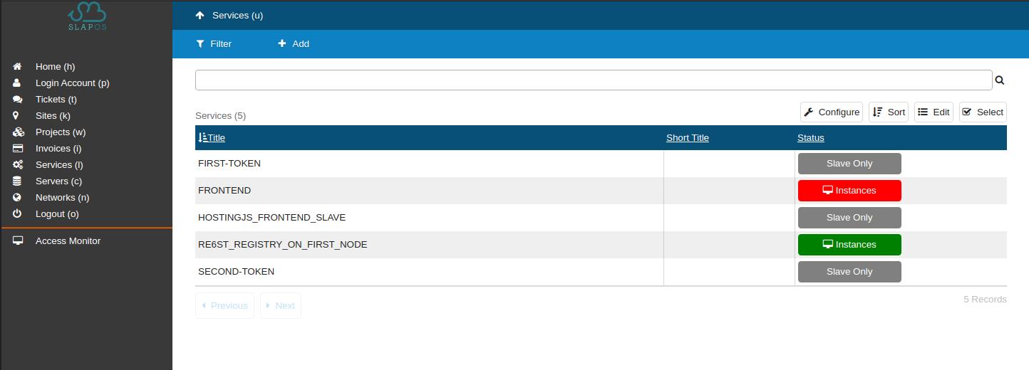 SlapOS Dashboard - Service Re6st Token Instantiation