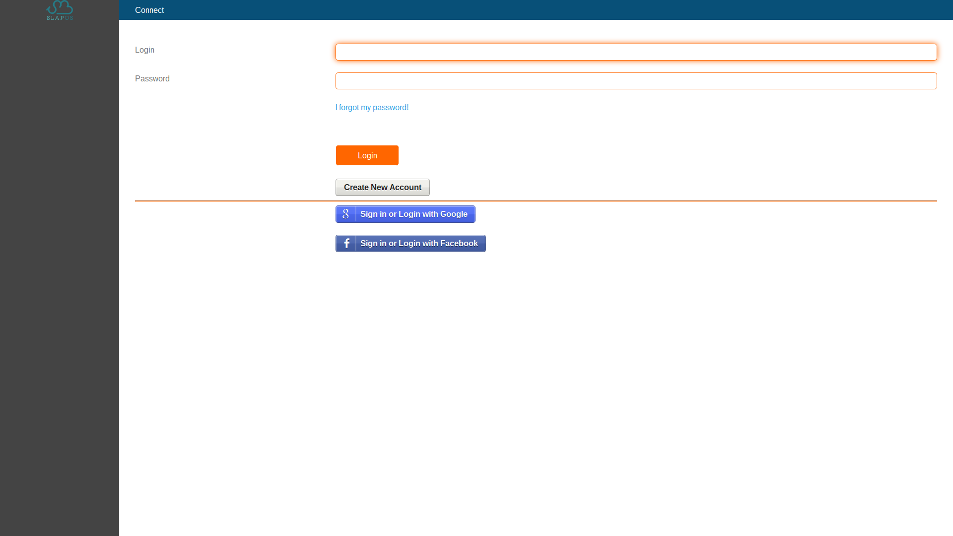 SlapOS Interface - Login Screen