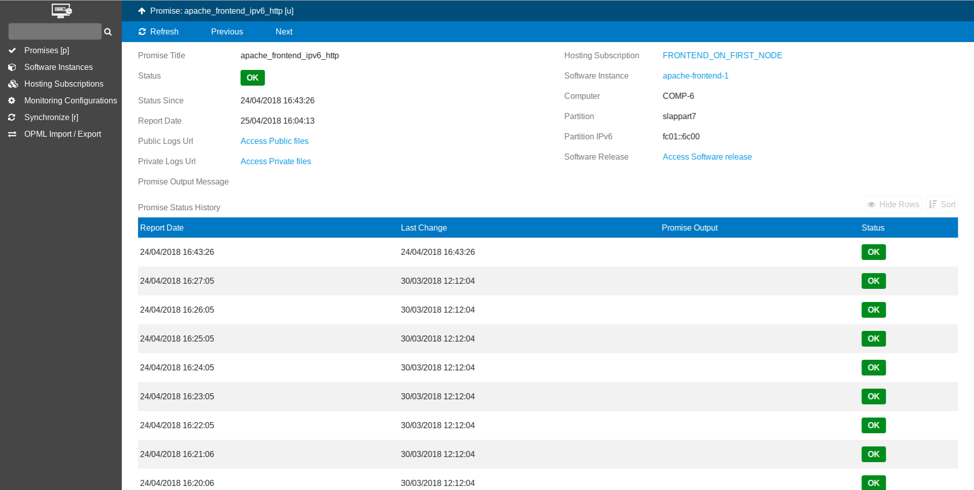 Monitor Interface - Software Instance Promise History