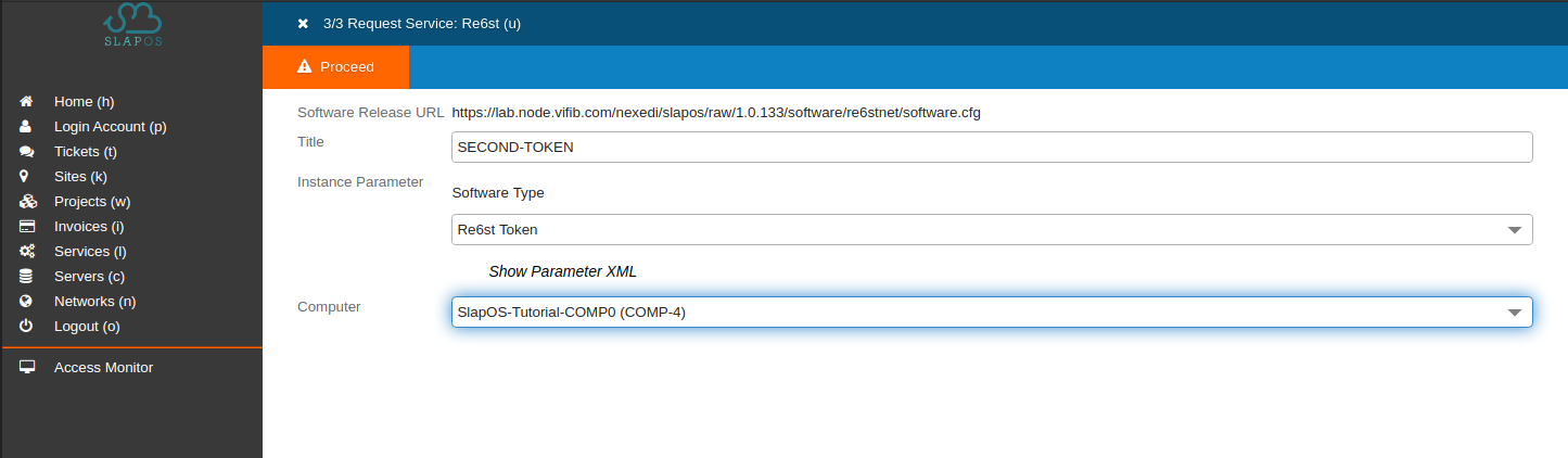 SlapOS Dashboard - Re6st Token Service Configuration Parameters