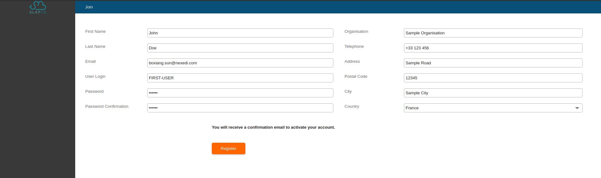 SlapOS Interface - User Registration