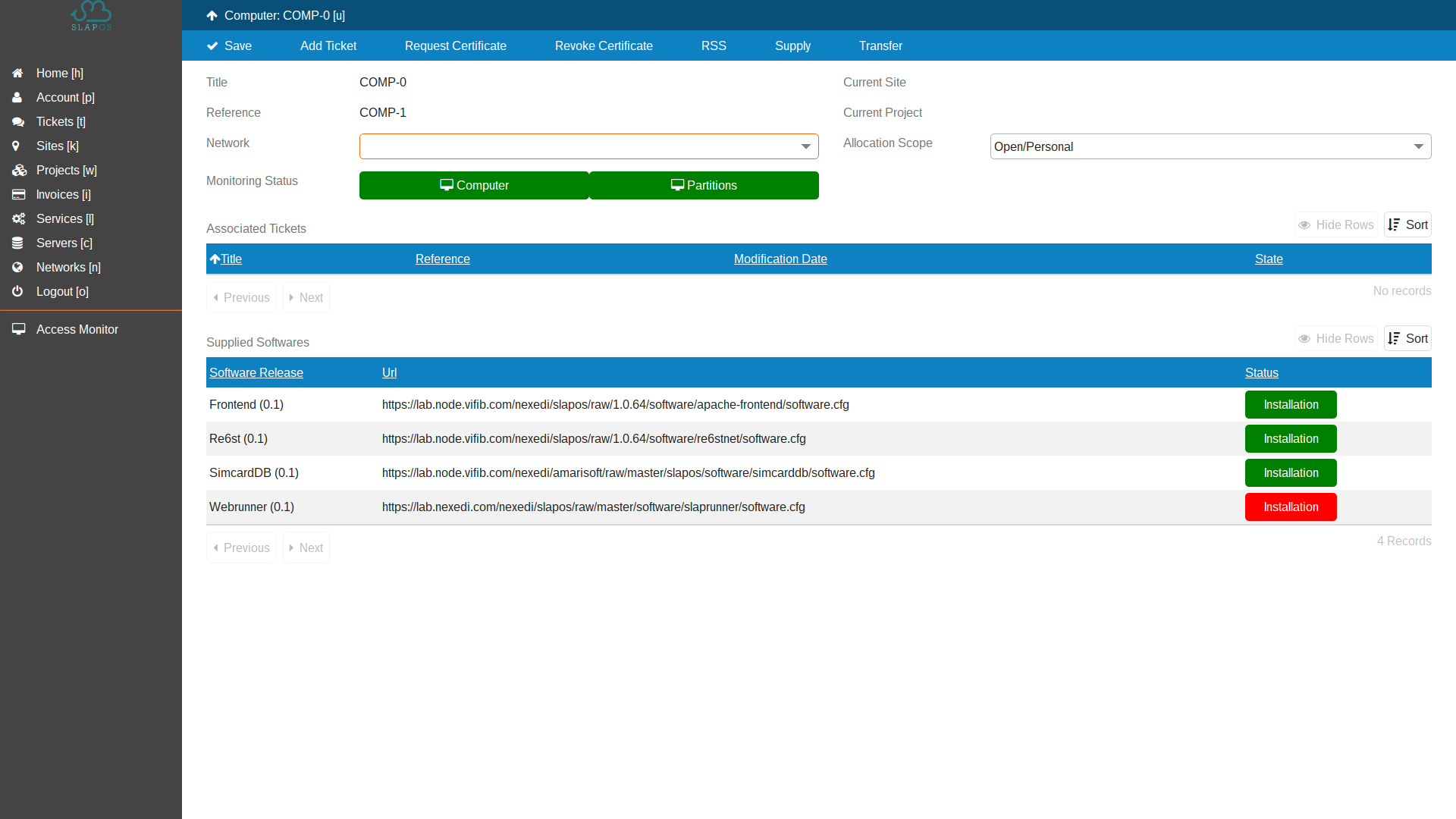 SlapOS Dashboard - Verify Installation Success