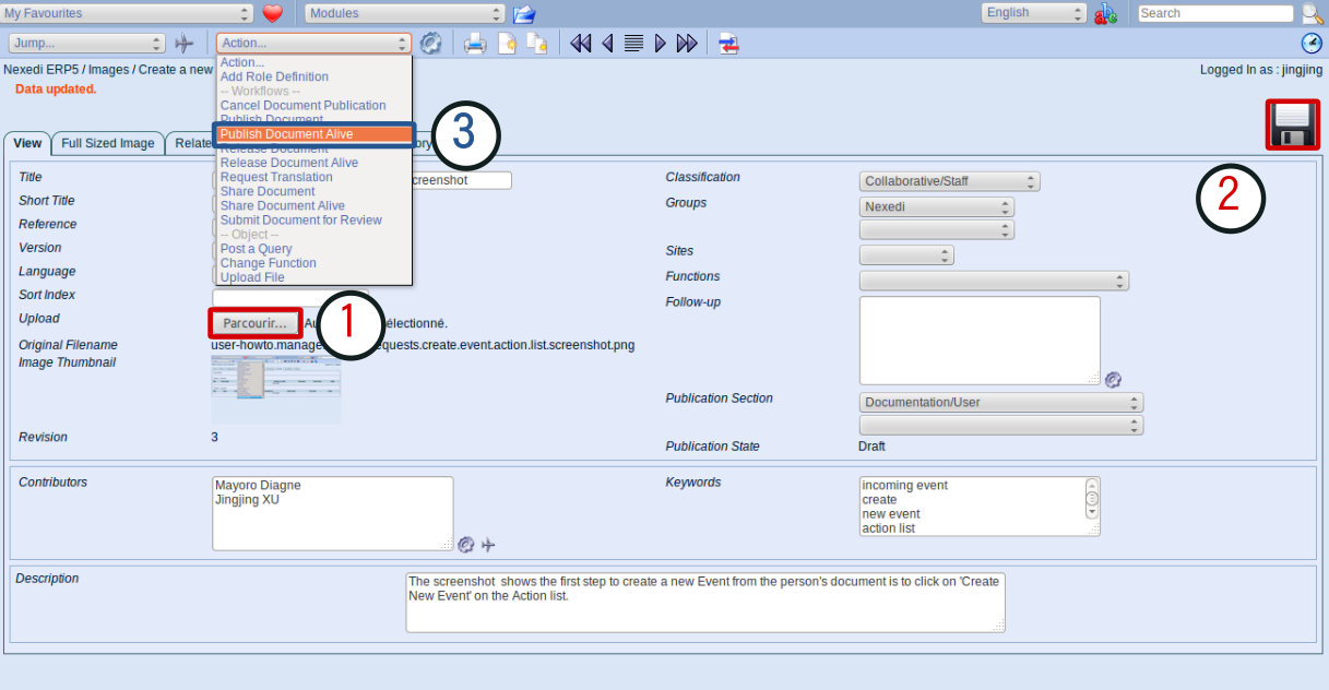 Make standard image with screenshot: Upload and publish alive the screenshot.png to ERP5 Images module
