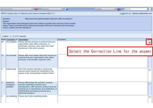 Select correction