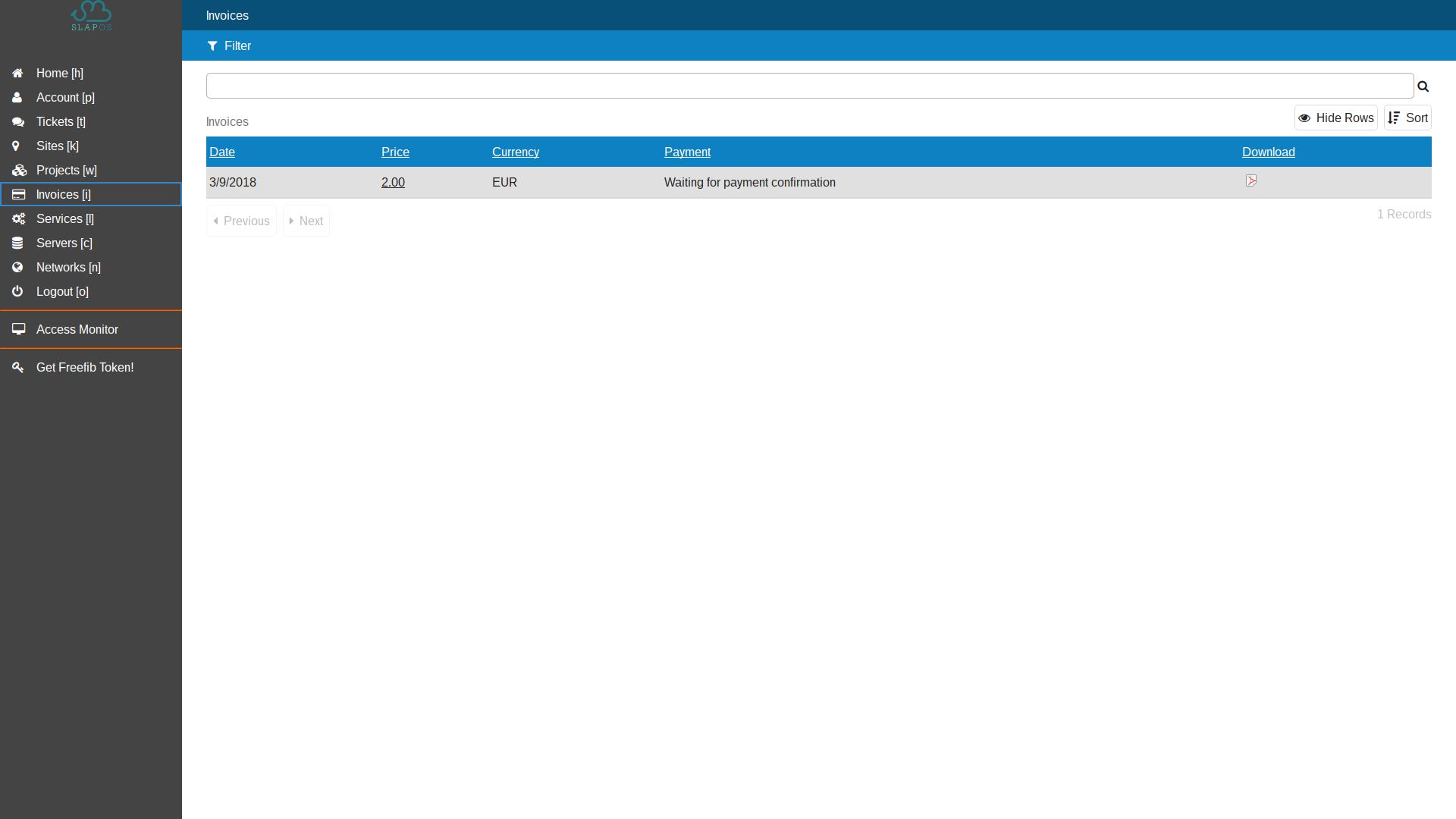 Vifib Interface - List of invoices