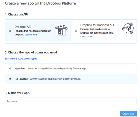 screenshot showing creation of a dropbox application