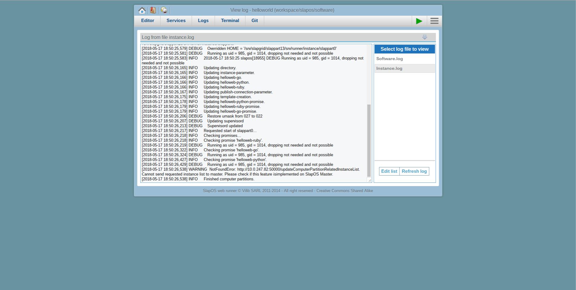 Debug SlapOS Node - Webrunner Interface - Webrunner Instance Logs