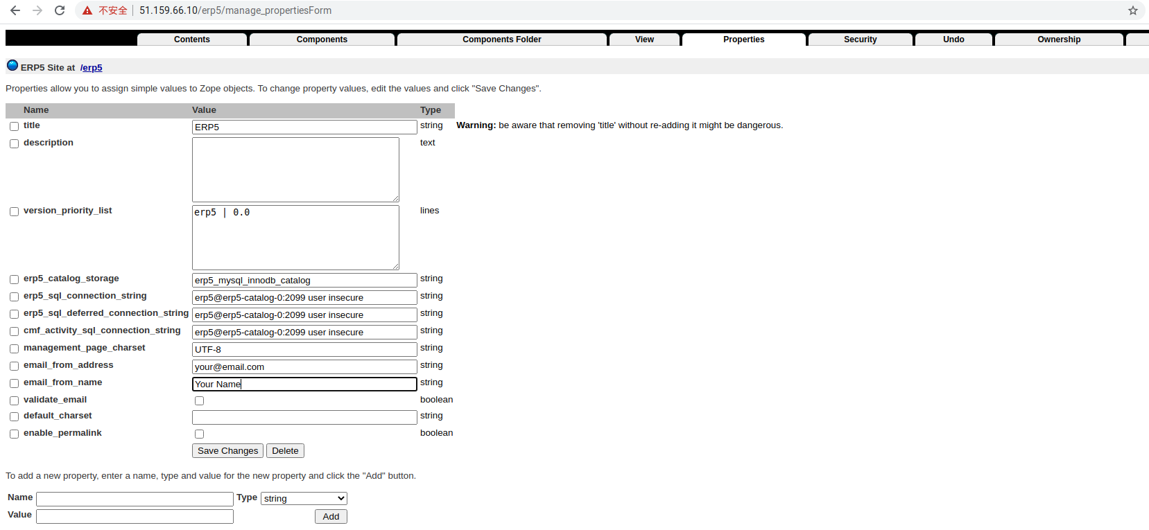 Zope Interface - Configure Mail Sender